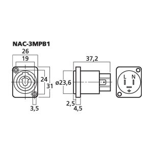 NAC-3MPB1 | NEUTRIK POWERCON panel jack, typ B-5363