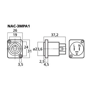 NAC-3MPA1 | NEUTRIK POWERCON panel jack, typ A-5362
