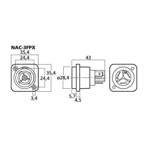 NAC-3FPX | NEUTRIK POWERCON panel jack-5360